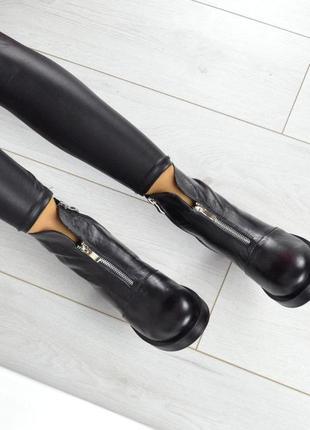 Рр 36-41 натуральная кожа осень(зима) стильные черные ботинки2