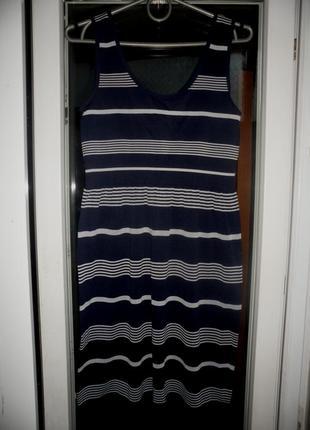 Полосатое синее платье сарафан ocean clyb летнее в принт полоску без рукавов