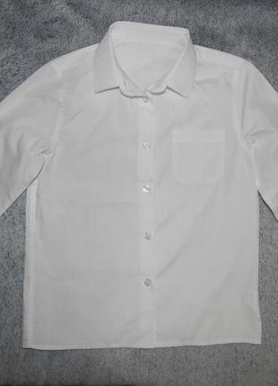 Школьная белая блузка f&f на ребенка 7-8 лет. рост 122-128 см.
