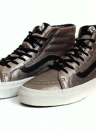 Кожаные хайтопы ботинки vans. стелька 25 см