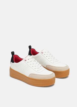 Кожаные кроссовки на платформе zara 36-40 размеры