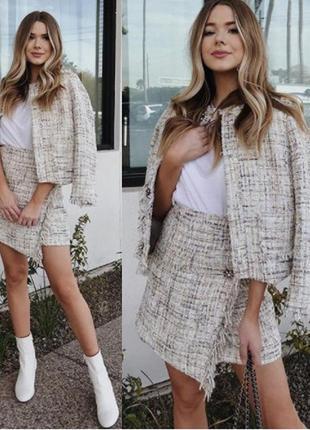 Твидовая юбка на запах zara