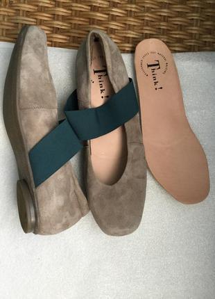 Туфли кожаные think, замшевые ортопедические