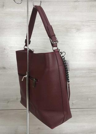 Бордовая сумка шоппер мешок с ручкой и ремешком через плечо2