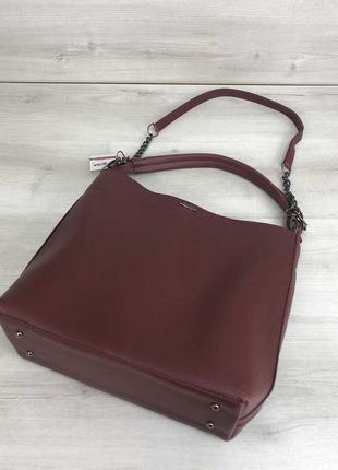 Бордовая сумка шоппер мешок с ручкой и ремешком через плечо3