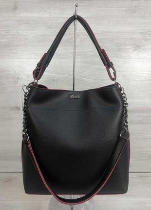 Черная сумка шоппер мешок на плечо с красными торцами