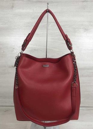 Красная сумка шоппер мешок с ручкой и ремешком через плечо