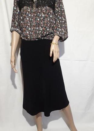 Женская юбка миди на подкладке в мелкий рубчик