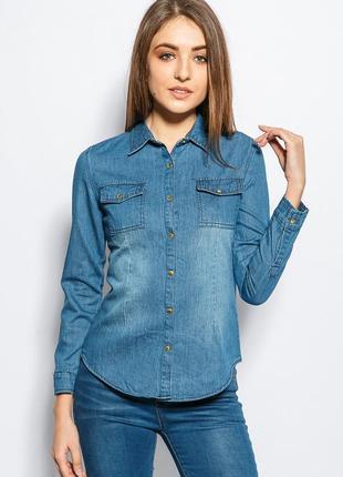 Новая синяя джинсовая рубашка из денима размер  l