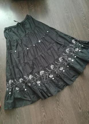 Черная юбка макси ч воланами  из котона