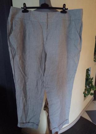 Льняные брендовые штанишки,сайз плюс 56 р