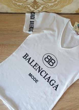 """Белая хлопковая футболка с принтом """"balenciaga"""""""