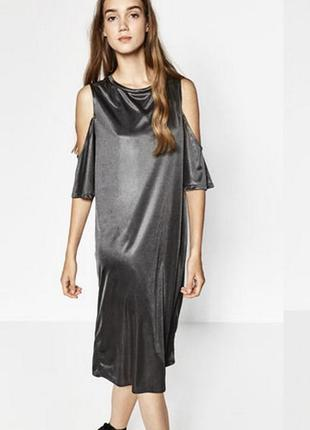 Совбодное миди платье zara