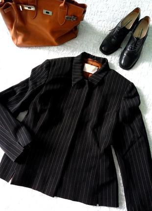 Шерстяной черный жакет в полоску country casuals, супатная застежка