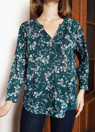 Летняя зеленая блуза с цветами h&m