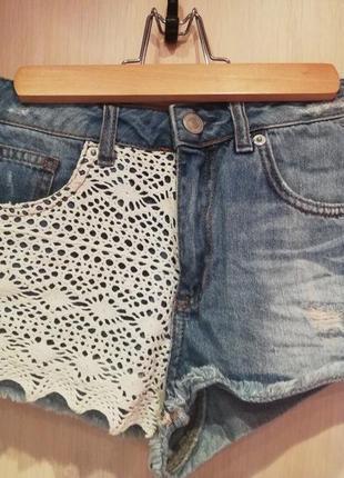 Мини шорты с кружевом topshop р. 34