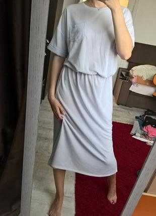 Тренд 2019г. платье миди,ниже колен от zara/нежно-лилового цвета