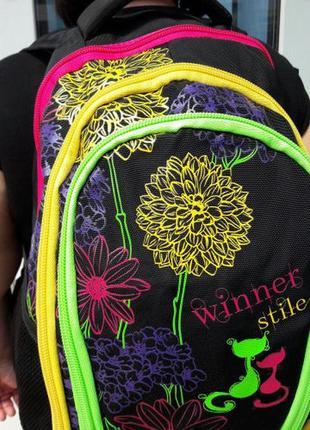 Школьный рюкзак для девочек ортопедический принт цветы вместительный и легкий4 фото
