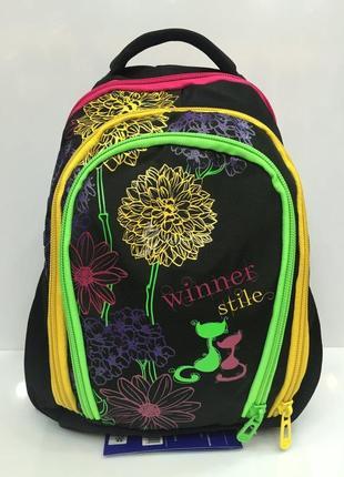 Школьный рюкзак для девочек ортопедический принт цветы вместительный и легкий1 фото