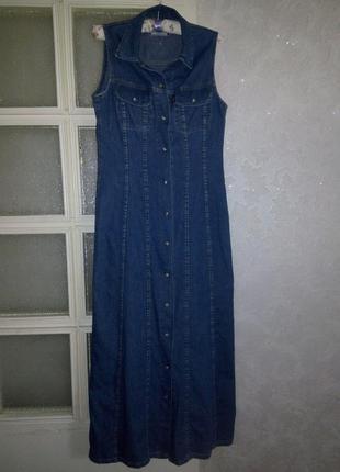 Длинное джинсовое платье халат 10-12р