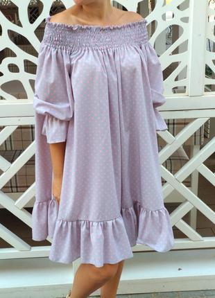 Платье в нежно-розовый горох для мамы и дочки family look фемили лук
