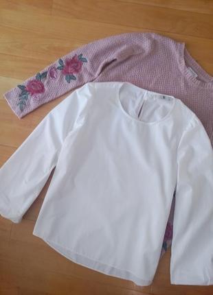 Белоснежная свободная рубашка с рукавом-фанариком