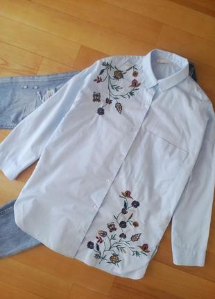 Красивая рубашка оверсайз с вышивкой
