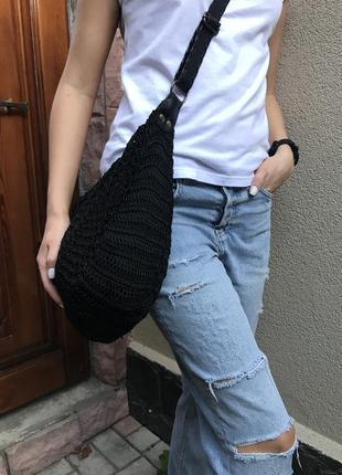 Чёрная,вязанная,ажурная,плетёная,кружевная этно-сумка,бохо торба на одно плечо