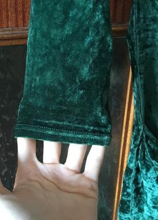 Изумрудный цвет велюровое платье плаття