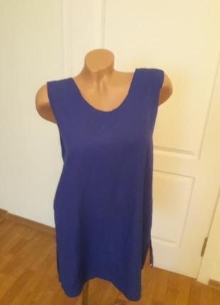 Синяя блузочка 44 р, пог 52, длина 77, королевский стиль.