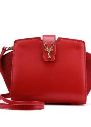 Lafestin сумка кожа натуральная красная в наличии новая