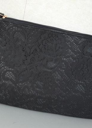 Сумка коверт клатч черная кружева пу кожа terranova