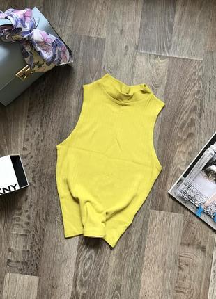 Яркая лимонная водолазка, топ в рубчик new look, p.xs(34)