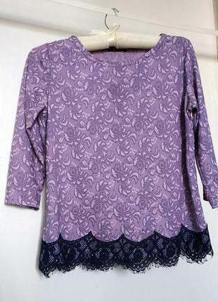 Водолазка гольф блузка с гипюром