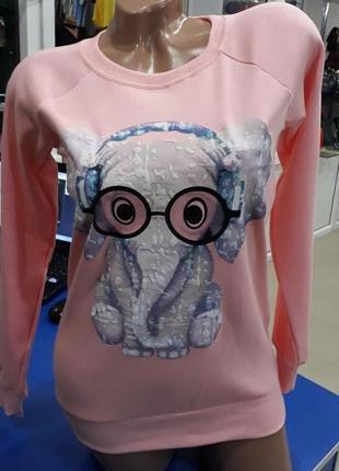 Женский милый свитшот с красивым слоником цвет розовый