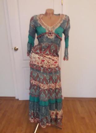Платтяной костюм, 38-40, г-90, талия юбки -85, длина блузы 57, рукав 46, дл юбки 93