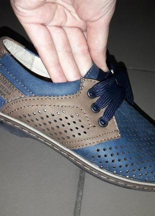 31 32  туфли на мальчика подросток мокасины деми осень весна школьные школа перфорация