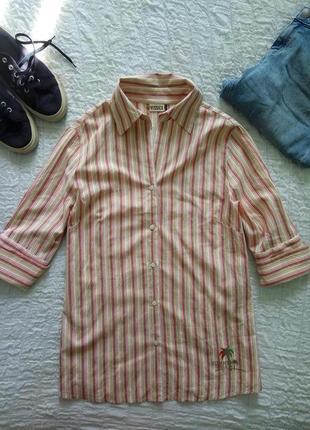 Тонкая мягкая хлопковая рубашка в цветную полоску
