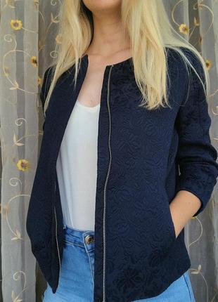 Синяя куртка-пиджак// жакет oodji
