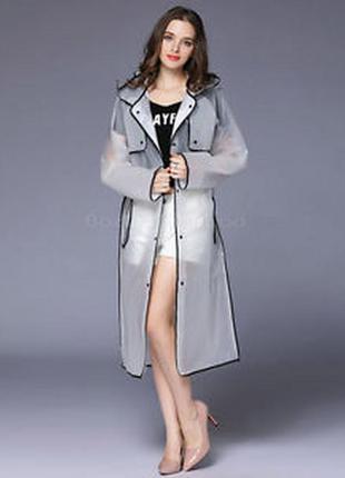 Самый модный виниловый прозрачный демисезонный плащ он же зонт и дождевик размер м-ххл