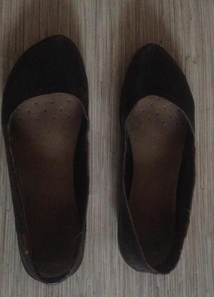 Балетки коричневые, кожаные, кожа, низкий ход, туфли