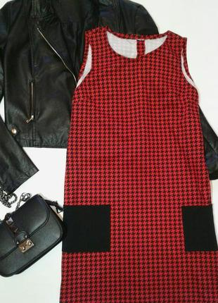Стильное платье в принт гусиная лапка