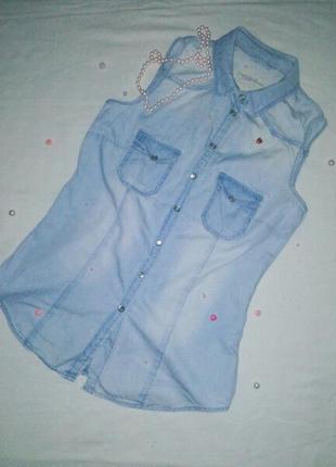 Джинсовая рубашка без рукавов denim co