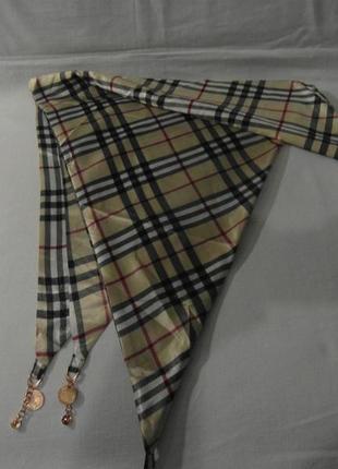 Женский платок-шарф  светло-бежевый  в клетку