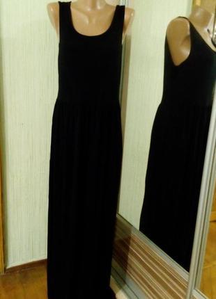 Платье в пол, трикотажное, черного цвета. бред george   размер uk 12, евро 40, укр.46-48