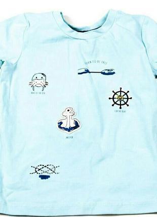 Стильная бирюзовая футболка с принтами для настоящего капитана
