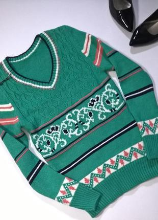 Мятный  шерстяной свитер р.42-44