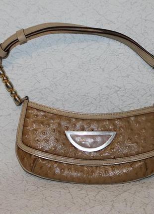 Christian dior оригинальная кожаная сумка из кожи страуса