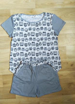 "Симпатичная пижама ""совушки"", домашний костюм, батал, большой размер, 48-50"