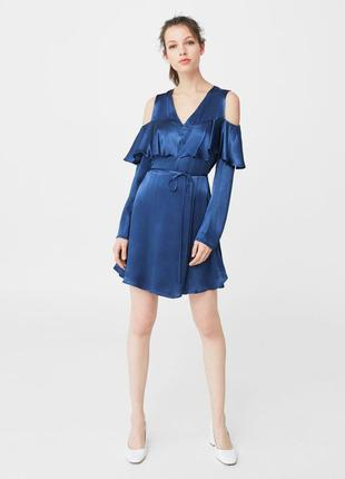 Красивое шелковое платье с воланом mango s, оригинал из испании, туника сарафан